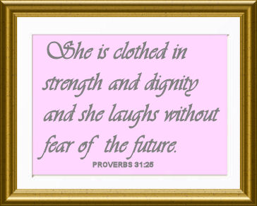 framed baby girl nursery wall Christian Bible verse quote Proverbs 31:25