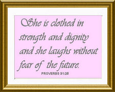 Strong inspirational baby girl daughter christian Bible verse quote Proverbs 31:25