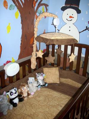 We painted the nursery walls baby blue and added glow-in-the dark stars and more!