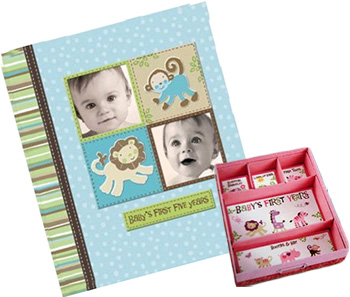 Baby boy and girl scrapbooking ideas with keepsake scrapbook storage compartments