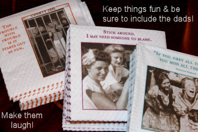 Cute vintage baby shower napkins for a couples shower