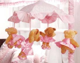 pink ballerina bear mobile baby crib mobile