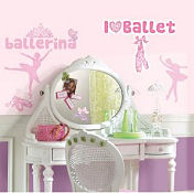 Ballerina baby nursery wall stickers and decals for a girls pink ballet room theme