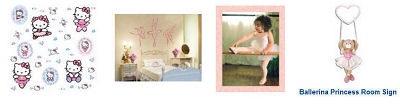 Baby ballerina nursery wall decals stickers and decor