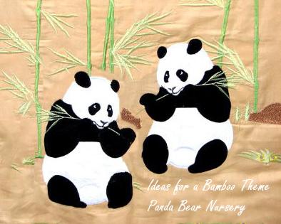 Asian oriental bamboo panda bear theme crib bedding and nursery décor ideas