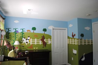 Cow and Horse Farm Nursery Wall Mural