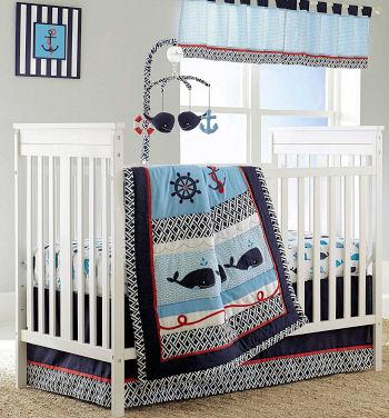 Navy blue and baby blue whale ocean beach theme nursery ideas for a boy