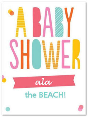 Colorful beach theme baby shower invitation announcement card