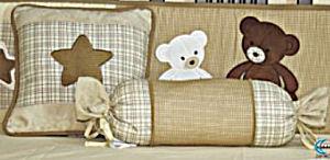 Custom rustic brown plaid bear theme baby nursery crib bedding set quilt