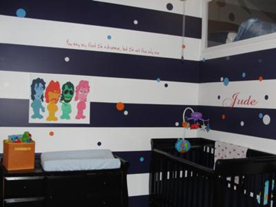 Jude's Blue Striped Beatles Theme Nursery w Black and White Painted Horizontal Stripes on the Walls