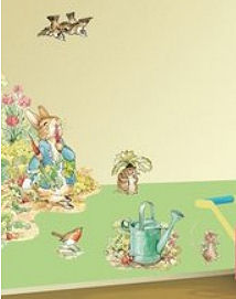 Beatrix potter wallies wall decals and wallpaper borders for Beatrix potter mural wallpaper