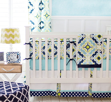 Beautiful navy blue white and green baby boy nursery design and décor ideas with chevron pattern