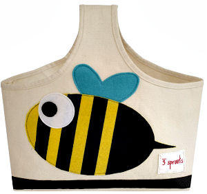 Busy bee baby diaper tote bag with a bumblebee applique