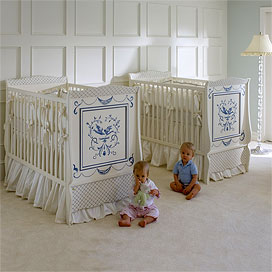 hand painted bluebird crib birds