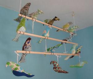 bird baby crib mobile nursery stuffed cloth fabric homemade handmade crafts