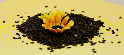 black and yellow sunflower seed centerpiece