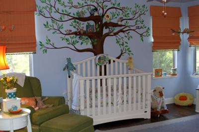 Girl Baby Blue and Orange Bird Themed Baby Nursery Tree Wall Mural