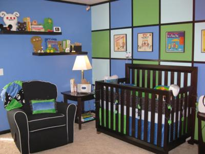 Hip to be Square Modern Blue, Lime Green and Black Baby Nursery Design