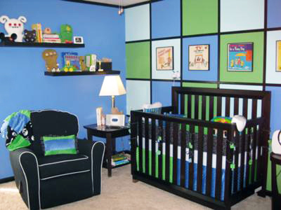 Hip to be Square Modern Blue, Lime Green and Black Baby Boy Nursery Design