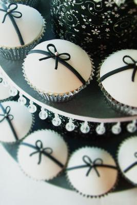 Black and White Baby Shower Cupcakes with Silver or Pearl Bead Non Pareil