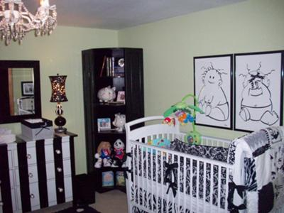 BLACK AND WHITE BOY and GIRL TWIN NURSERY PICTURES