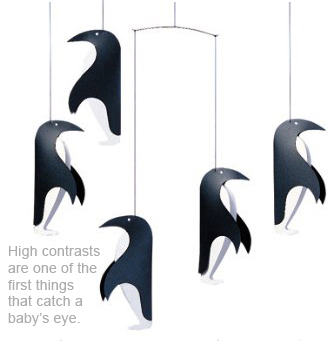 Black and white penguin crib mobile with high contrasts