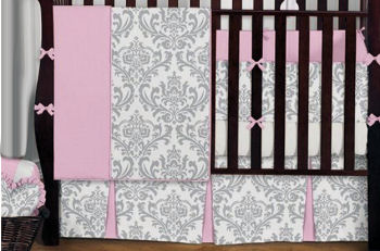 black and white damask baby crib nursery bedding set
