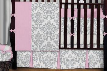 black and white damask baby crib nursery bedding set