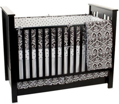 black and white baby nursery crib bedding set damask print polka dots crib sheet curtains