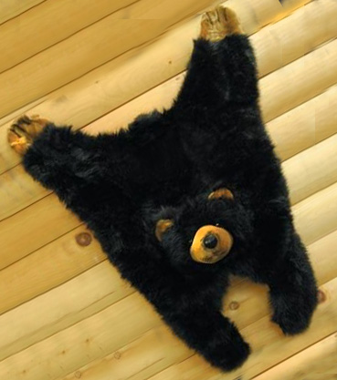 Black bear baby rug for the nursery floor or log cabin nursery wall decoration