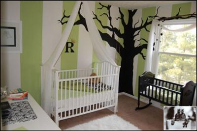 White And Green Baby Nursery Wall Stripes Striped Painted Paint