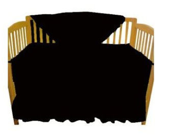 Solid black baby crib bedding set for the nursery.