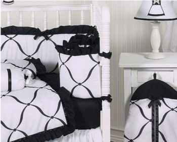 Elegant black and white baby bedding set for a baby girl with a ruffled pettiskirt crib skirt