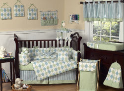 baby blue and sage green argyle baby nursery crib bedding set