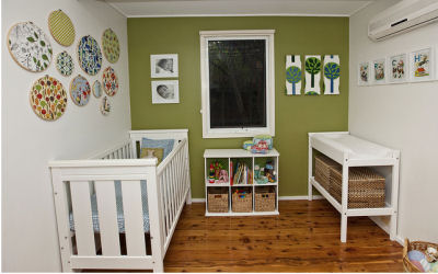 Baby Boy's Blue and Green Modern Vintage Nursery