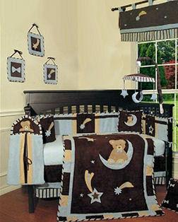 Denim blue teddy bear baby blue and brown moon and stars nursery crib bedding set