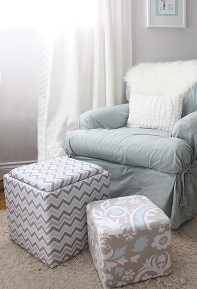 DIY fabric covered storage ottoman stool upholstery project for a baby nursery room