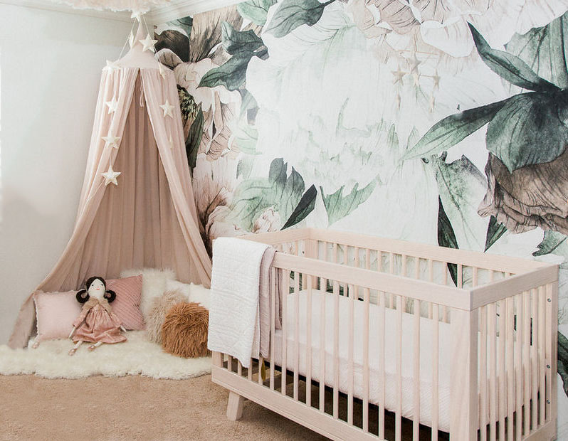 Blush pink and dark tropical green floral baby girl nursery ideas