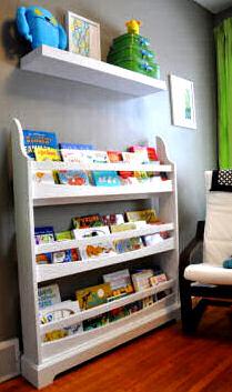 Neutral baby boy nursery bookshelf ideas for a wall bookcase