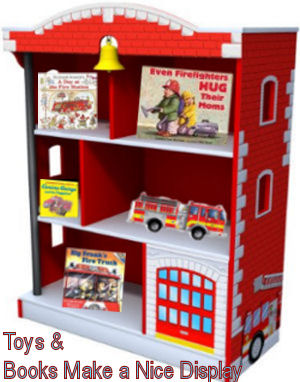 Firetruck nursery bookshelf ideas Toys and books decorating a fireman nursery bookcase
