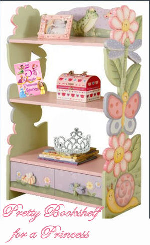 Pretty pink princess bookshelf ideas for a baby girl nursery room