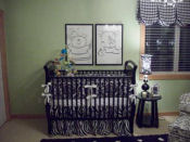 Polka dot black and sage green white baby twin twins boy girl nursery pictures stripes polka dots