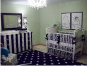 Polka dot black and white baby twin twins boy girl nursery pictures themes