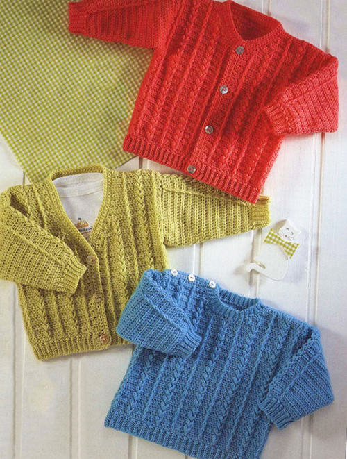 Knit and crochet cardigan sweater patterns for baby boy.