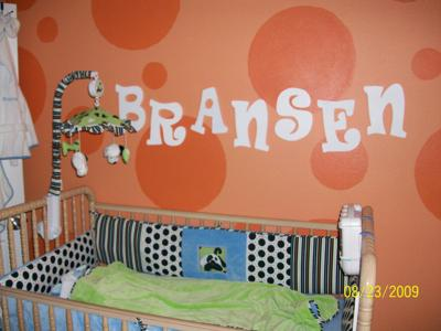 Baby Boy's Lime Green and Orange Polka Dots Panda Theme Nursery