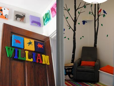 Our baby boy's wild animal nursery filled with birds of the forest, woodland scenes, tropical birds and sea creatures in both natural and bright cheerful colors.