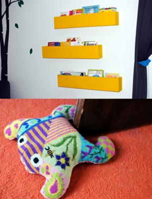 Three modern nursery book shelves wall (pockets) give the baby's nursery a contemporary touch and another splash of bright color! The needlepoint frog is a soft baby-friendly doorstop that is both functional and fun!