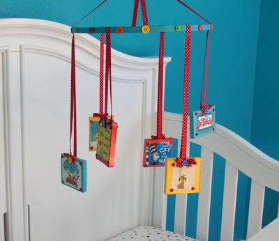 Homemade Dr Seuss Cat in the Hat baby crib mobile
