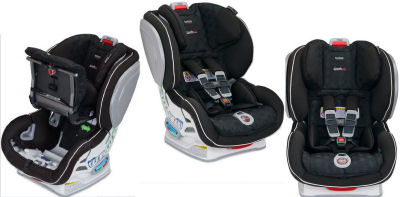 Side front and alternate views of the Britax  Circa Advocate ClickTight Convertible Car Seat
