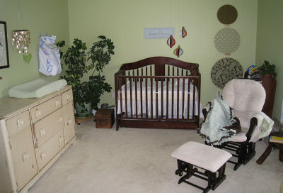 Carter's Brown and Green Baby Nursery Decor